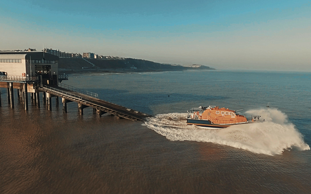 Cromer Lifeboat launch – from the air – Norfolk drone photographers